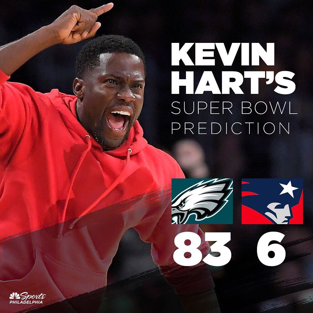 Philly native @KevinHart4real gives the Patriots no chance 😂https://t.co/HZ6w5WAfuk #SB52