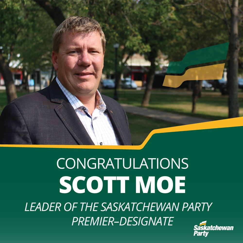 Congratulations to the next #skpldr and Premier of Saskatchewan, @ScottMoeSK. #skpoli