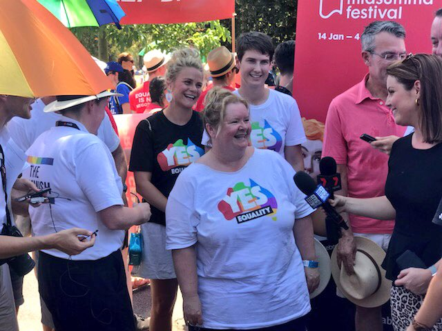 Happy #Midsumma #PrideMarch everyone! Today we march with #pride and celebrate #MarriageEquality 💜🌈
