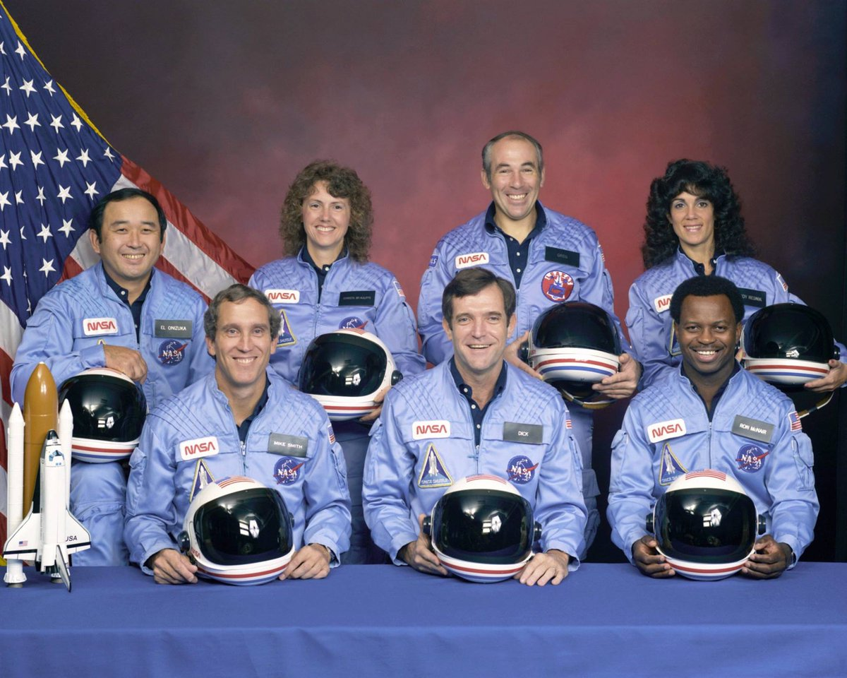 Remembering the crew of Challenger STS 51-L. Today in 1986: the launch of STS-51-L ended in tragedy when Challenger and crew were lost 73 seconds after liftoff. Crew of STS-51-L: Ellison Onizuka, Mike Smith, Christa McAuliffe, Dick Scobee, Greg Jarvis, Ron McNair & Judith Resnik.