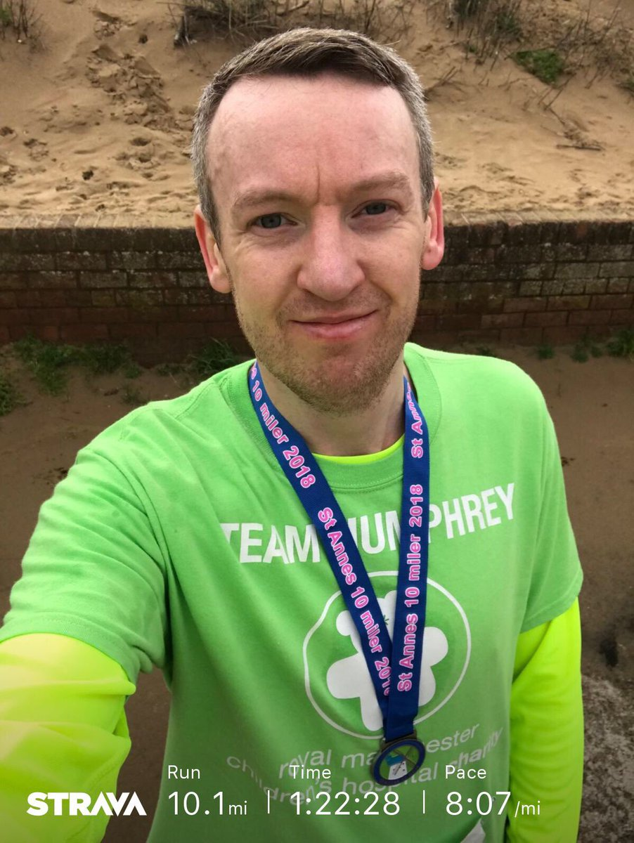 St Annes 10 Miler (Challenge number 5) done In Memory Of Adam Catterall & to raise money for @RMCHcharity!  It's only the 3rd time I've ever ran 10 miles. Pleased with my time. 🏃‍♂️💨Now for recovery!!!  🤣 #IMOAC