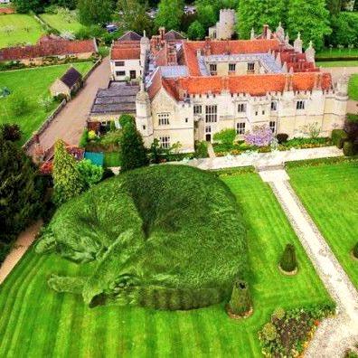 《庭園に出現した巨大猫のトピアリー》トピアリーとはテーマパークや海外庭園で見られる植物を刈り込んだ造形物。イギリスのアーティスト リチャード・サンダース氏は愛猫トーリーを亡くし偲ぶ日々の中で、トーリーが庭園にいたらと思いつき生前の姿と樹木を合成した作品。モフモフ感が堪りません。