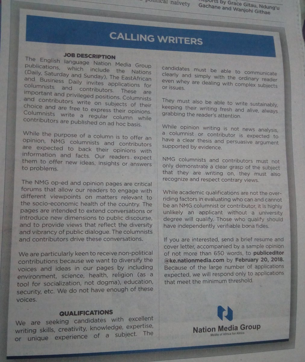 Nmg Are Looking For Non Political Writers Youth Village Kenya Contributors Below Is The Detailed Description And Application Job