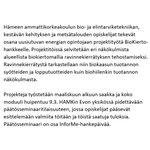 Image for the Tweet beginning: Hämeen ammattikorkeakoulun bio- ja elintarviketekniikan,