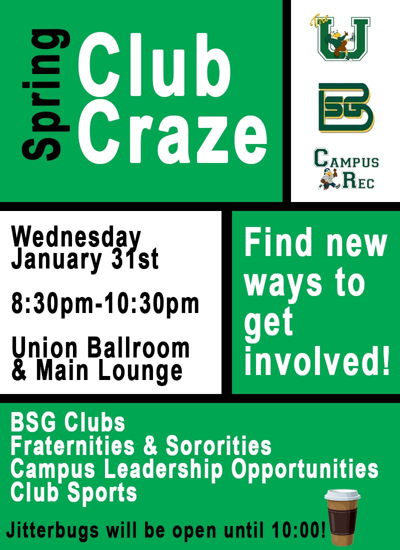 Fraternity and Sorority Life and Club Sports will also be at Club Craze. If  you haven't registered your club yet you can at - https://buff.ly/2ng6pca  ...