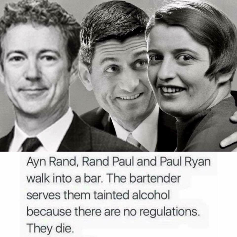Rand Paul, Paul Ryan and Ayn Rand gather for a drink.
