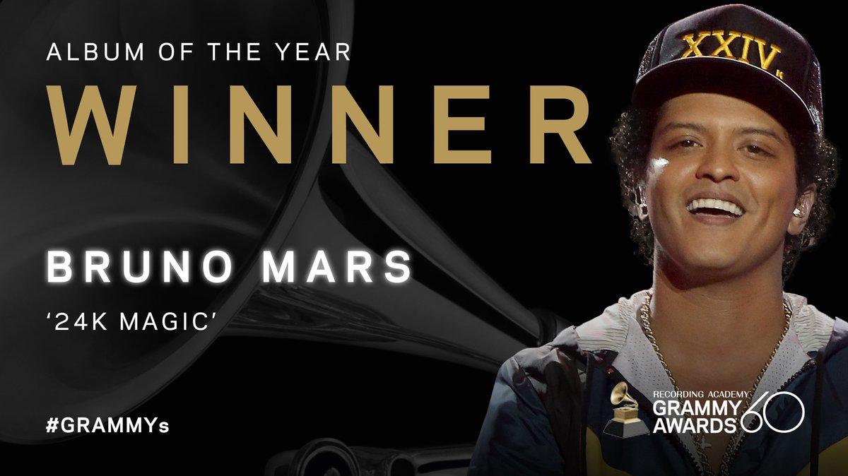 Congrats Album Of The Year winner - @BrunoMars '24K Magic' #GRAMMYs
