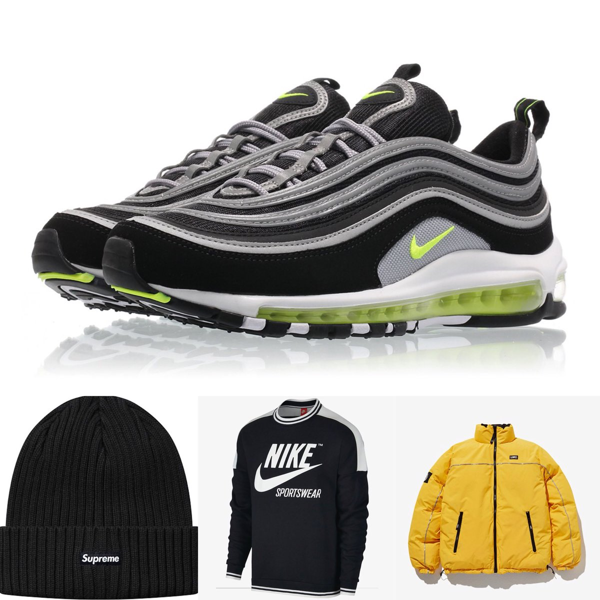 brand new 951ac ff9e2 180129 SUHO Nike Air Max 97 Japan OG - Volt Supreme ribbed beanie in Black  Nike Sportswear Archive Mens Crew LMC (Lost Management Cities) retro  reversible ...