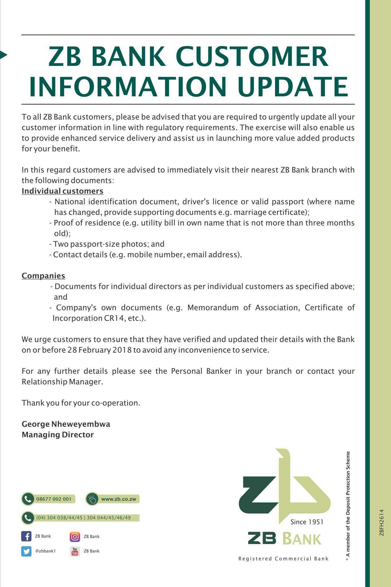 Zb Bank On Twitter Important Notice To All Our Customers