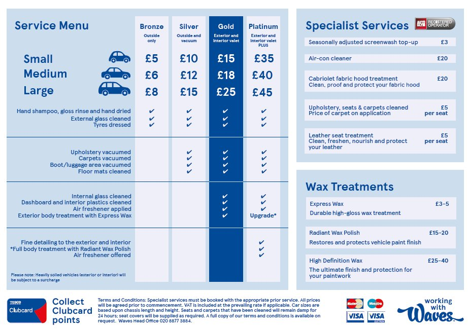 Tesco Waves Car Wash Prices
