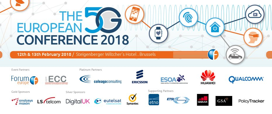 The European #5G Conference will take place on 12th & 13th February 2018 in #Brussels Keynote speakers @ViolaRoberto @EvaKaili @GeissGeiss @pstuckmann @gorangotev @ForumEurope @IoTBlogs @ETSI_STANDARDS @ETNOAssociation @DIGITALEUROPE @DSMeu @enisa_eu @Euractiv @eu40 @EBU_Tech https://t.co/dcS6OdUKbj