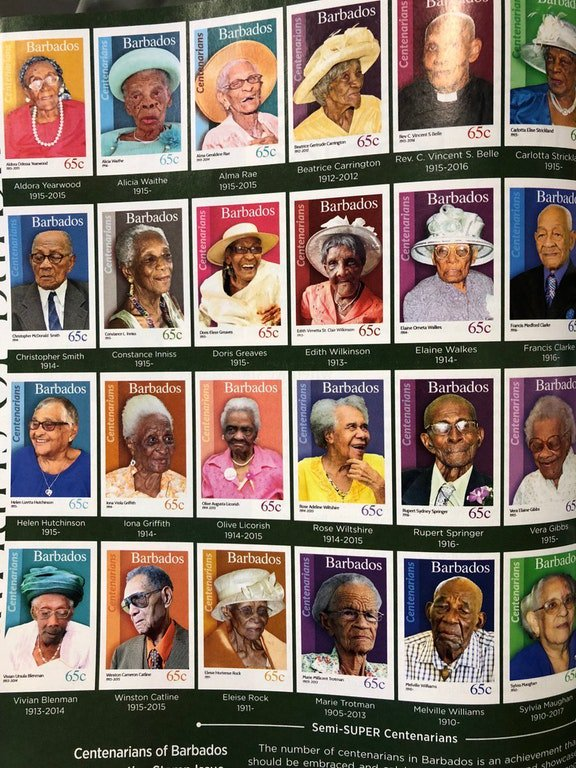 カリブ海の島国バルバドスでは国民が100歳を迎えると切手にしてくれる