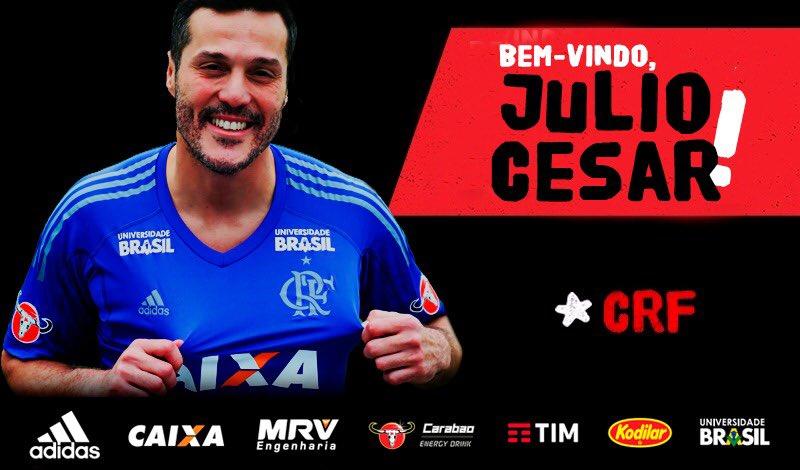 O goleiro Julio Cesar está de volta ao Flamengo e será apresentado no Ninho do Urubu, ao meio-dia. Bem-vindo de volta! #BemVindoJulioCesar
