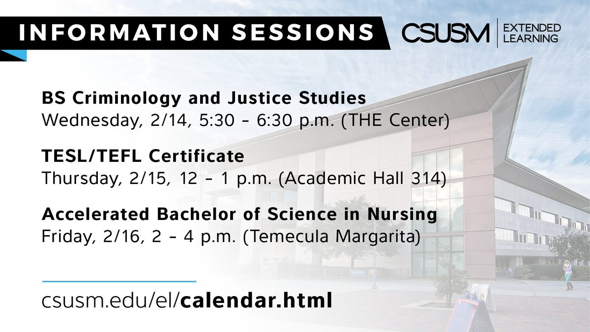 Csusm extended learn on twitter come and see what el has to offered in february are bs in criminology and justice studies tesltefl and accelerated bachelor of science in nursing httpbit1ts2n0b 1betcityfo Gallery