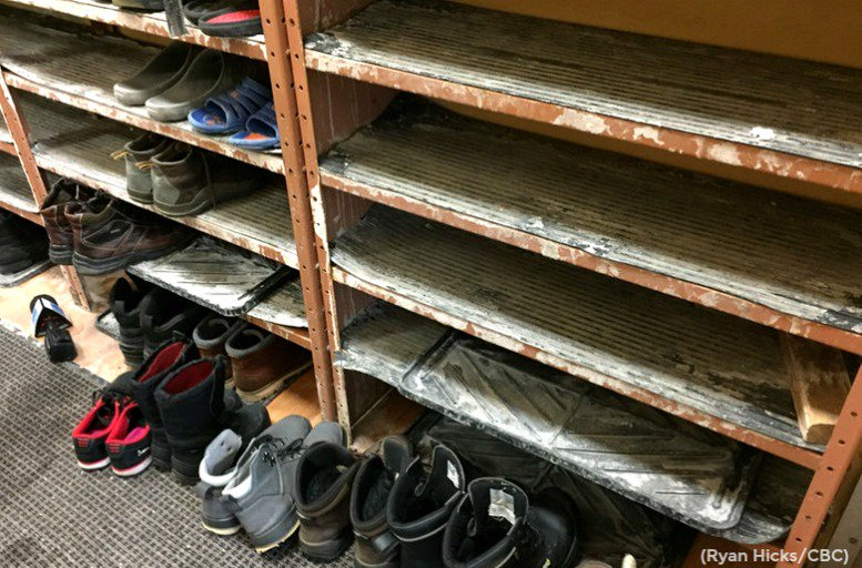 The shoes of the men who were killed in the Quebec City mosque attack, Jan 29, 2017, are still in the same place.   No one has touched them.