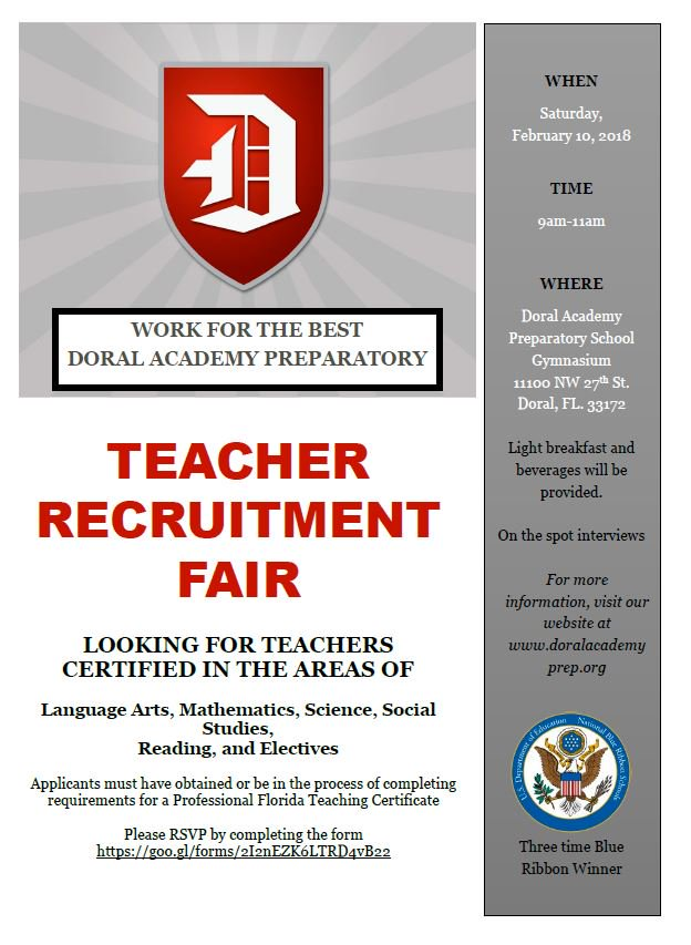 Doral Academy Prep On Twitter Looking For Teachers Applicants