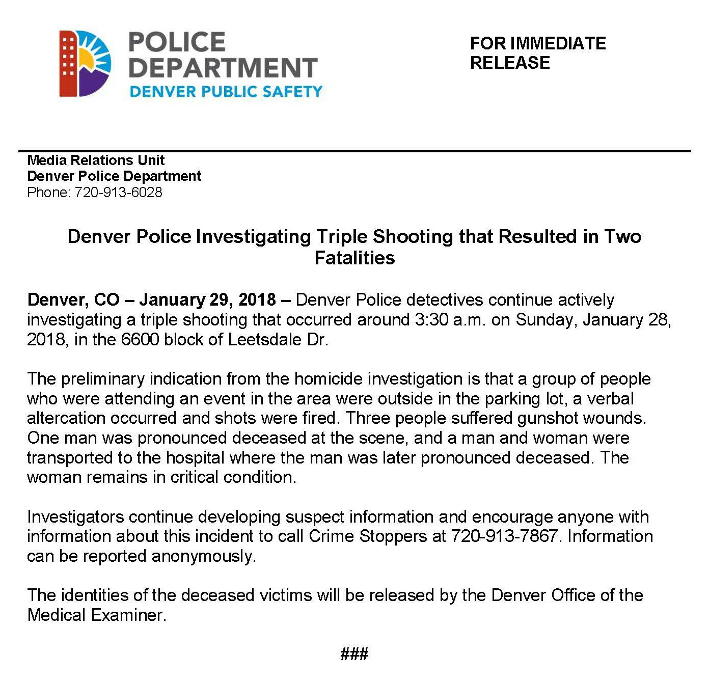 "Denver Police Dept. On Twitter: ""RELEASE: #Denver Police"