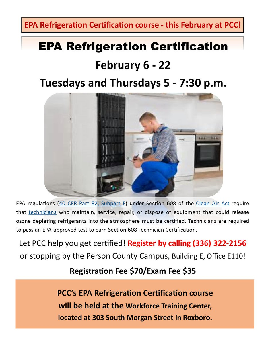 Pcc On Twitter Epa Refrigerant Certification Training Rescheduled