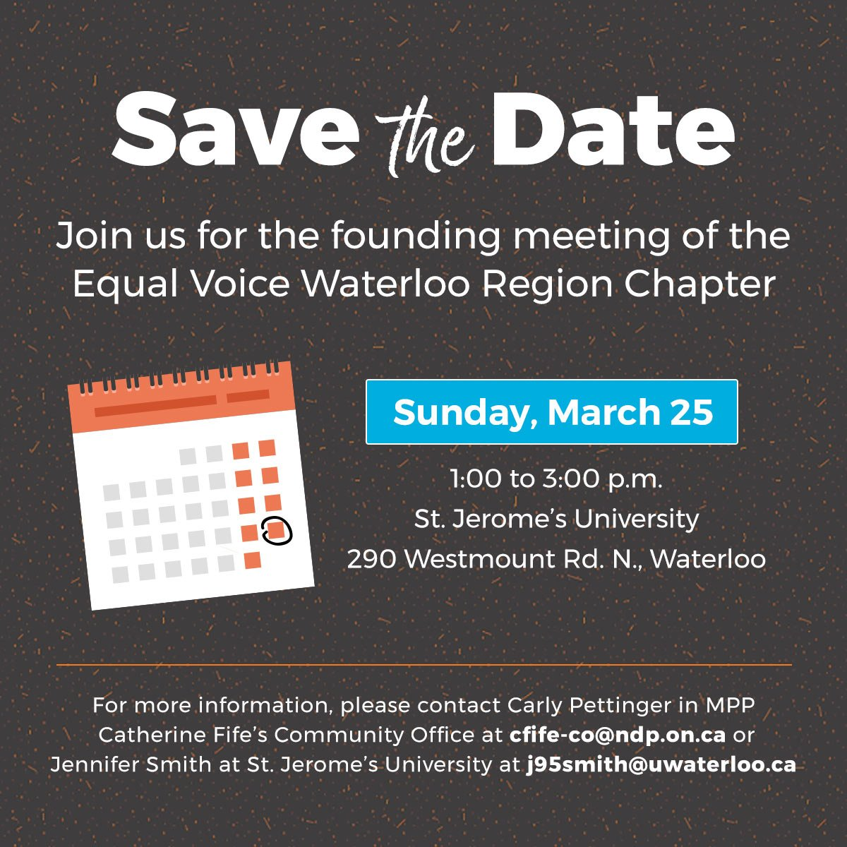 Founding meeting of the Equal Voice Waterloo Region Chapter @ St. Jerome's University | Waterloo | Ontario | Canada