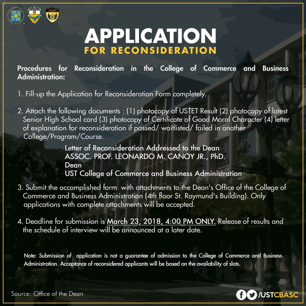 ust cbasc on twitter re application for reconsideration