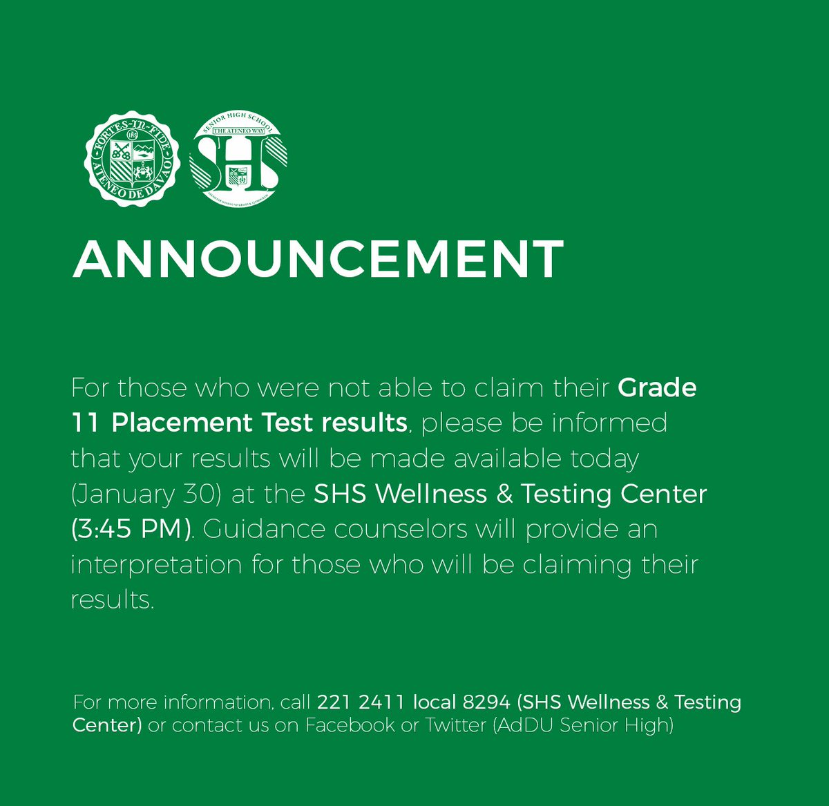 82f9a5904d ... may claim it at the SHS Wellness   Testing Center this afternoon. Your  guidance counselors will also provide you with an interpretation of the  results.