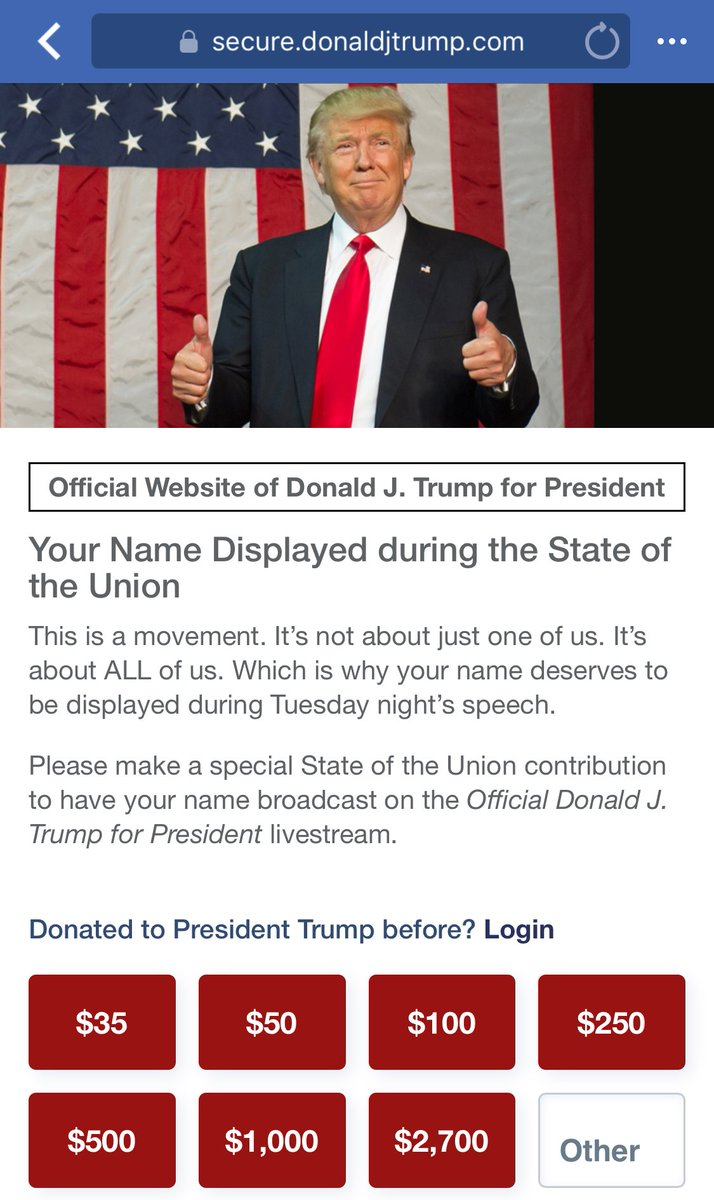 Trump is monetizing the State of the Union.  How is this legal???  #SOTU #SOTU2018 #SotuAddress #SOTUbingo #SOTUBlackout #SOTUniom #SOTUprotest