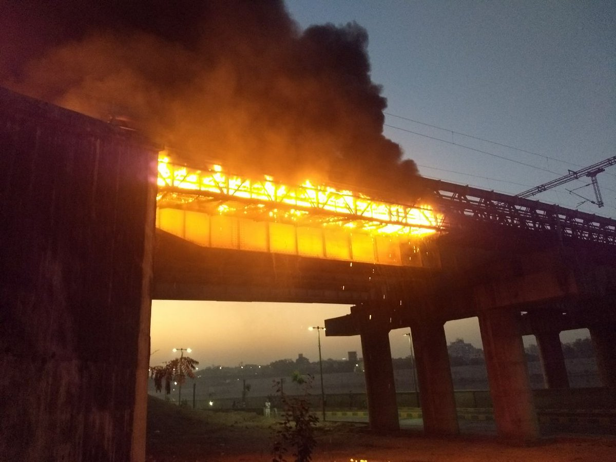 Minor fire in electric police beside track near Shahibaug underpass in Ahmedabad