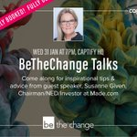 Beyond excited to welcome @SusanneGiven, @madedotcom Chairman tomorrow for the next BeTheChange talk. Demand has been off the scale and tickets sold out in less than 48hours! #Equality #BeTheChange