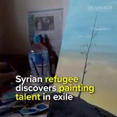 Mousa was not an artist in Syria, but in exile he began sketching and painting, narrating his experience as a refugee 🎨