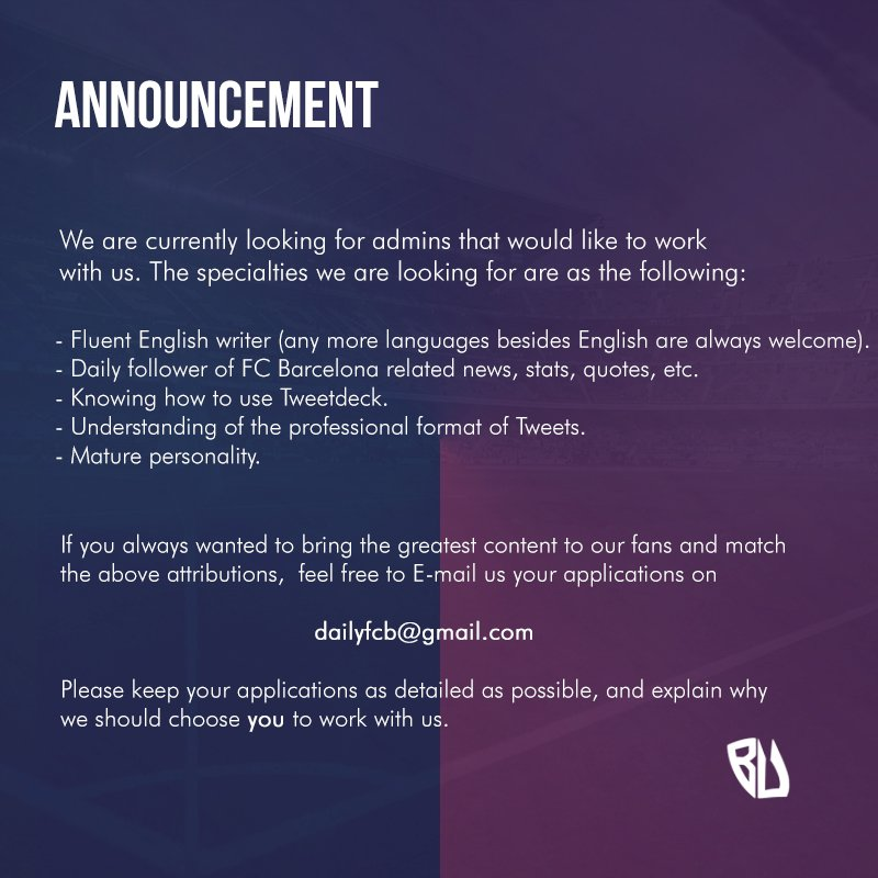 Barca Universal On Twitter Announcement We Are Looking For Team Members Details Below