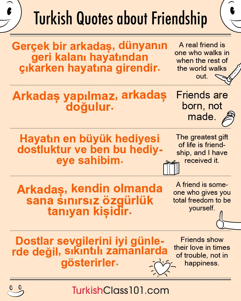 Turkish Quotes About Friendship Turkishclass101 Turkishclass101  Twitter