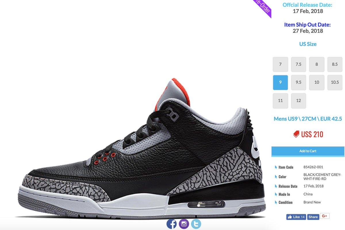 Air Jordan 3 Retro  Black Cement  is available for pre-order via  kickscrew  for  210-220 w  global shipping    http   tinyurl.com y7fjz4xo  30 shipping  to ... fa079cf93