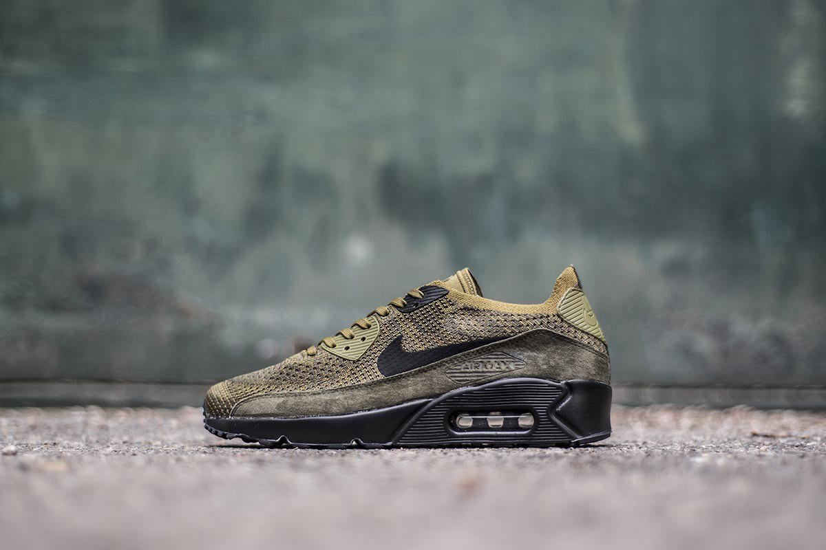 NIKE AIR MAX 90 Ultra 2.0 Flyknit Shoes Olive Flak Black