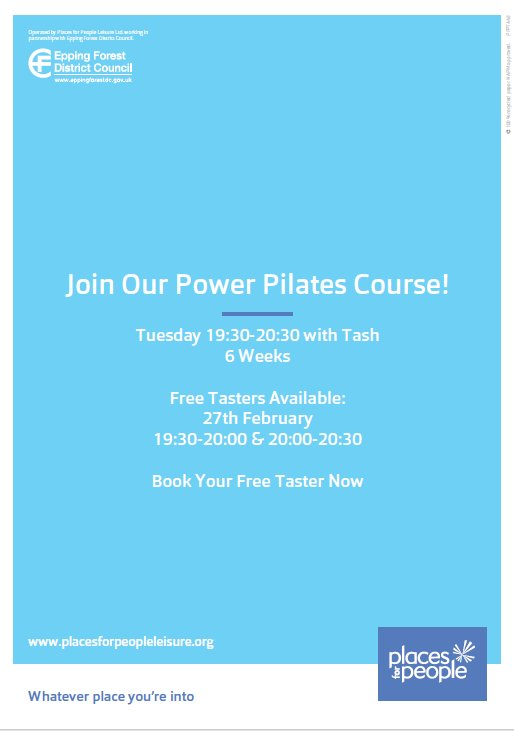 Add another dynamic to your training - join Tash for a 6 week Power Pilates course. Intermediate-Advanced Pilates for both members and non members. Free Tasters available to book - call us now on 01277 363969 for more details or to book your space today #activeplace #powerpilates pic.twitter.com/0bQExwqoF2