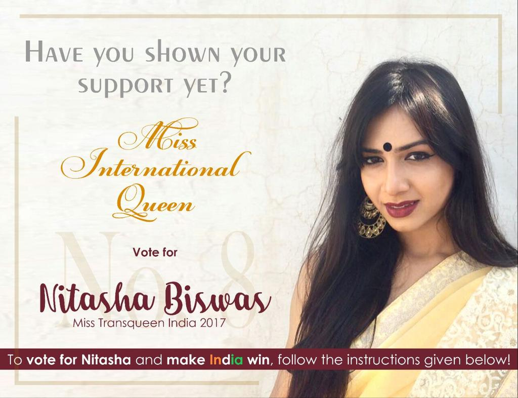 Nitasha, India's first Trans-Queen is all set to start her Miss International Queen 2018 journey, representing India for the first time. To show support, you may like and share the video link to vote    #misstransqueenindia2017  #MissInternationalQueen