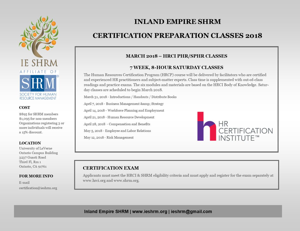 Inland empire shrm ieshrm twitter ie shrms saturday certification prep classes register now for spring 2018 check out the prep classes offered by ie shrm 1betcityfo Images