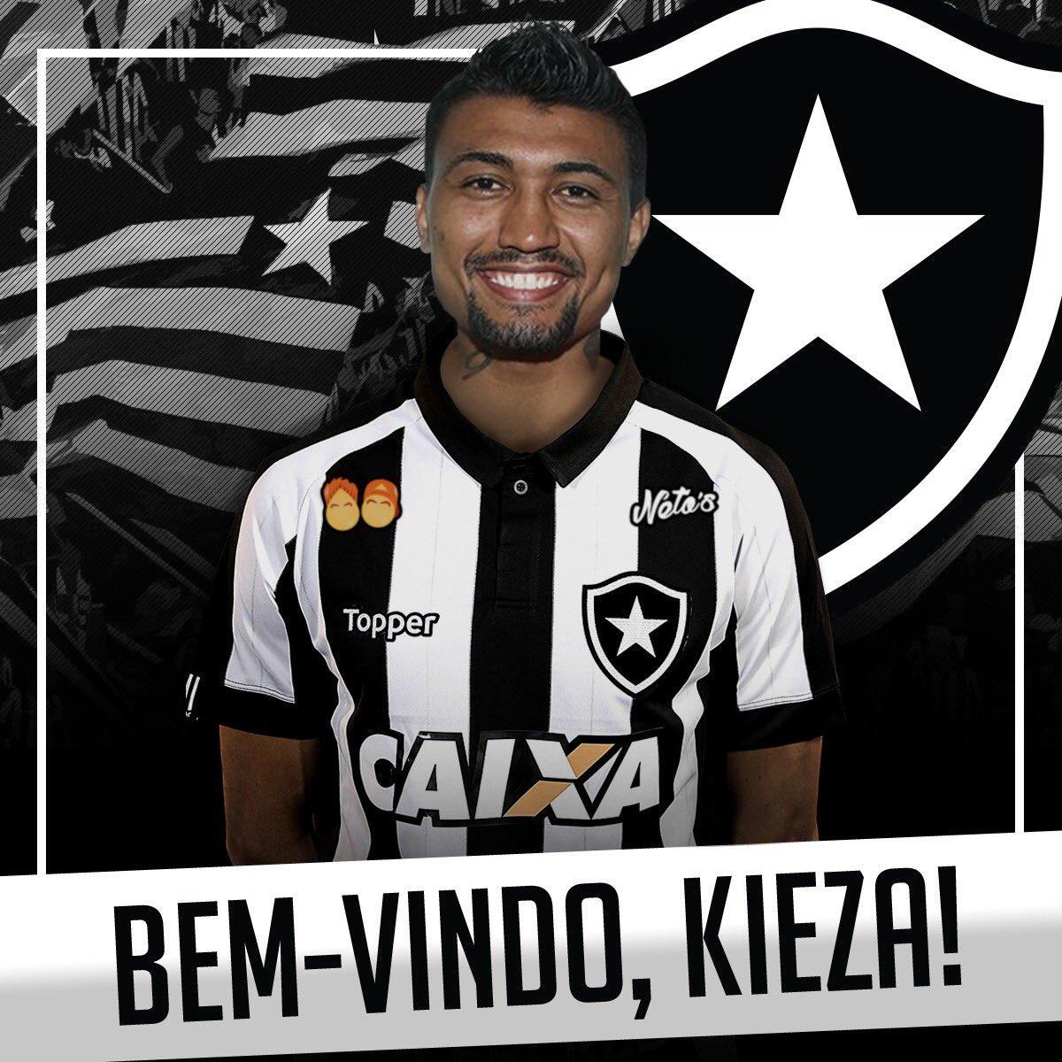 Kieza é jogador do Botafogo! Que seja uma parceria de sucesso e muitos gols! #VamosFOGO ⭐️  Arte: Gabriel Assis / BFR