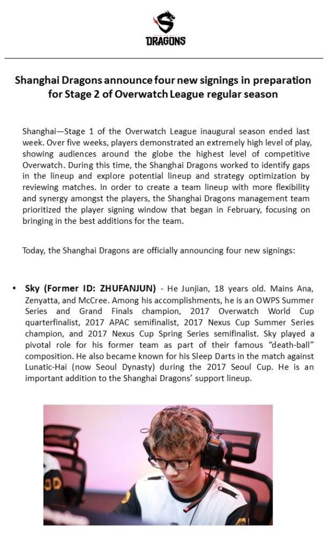 Shanghai Dragons On Twitter We Re Excited To Welcome He Sky Junjian Kim Geguri Seyeon Lee Fearless Euiseok And Chon Ado Gihyeon To Our Overwatchleague Roster Fightingforglory Owl2018 Https T Co Djdtgl0ghy