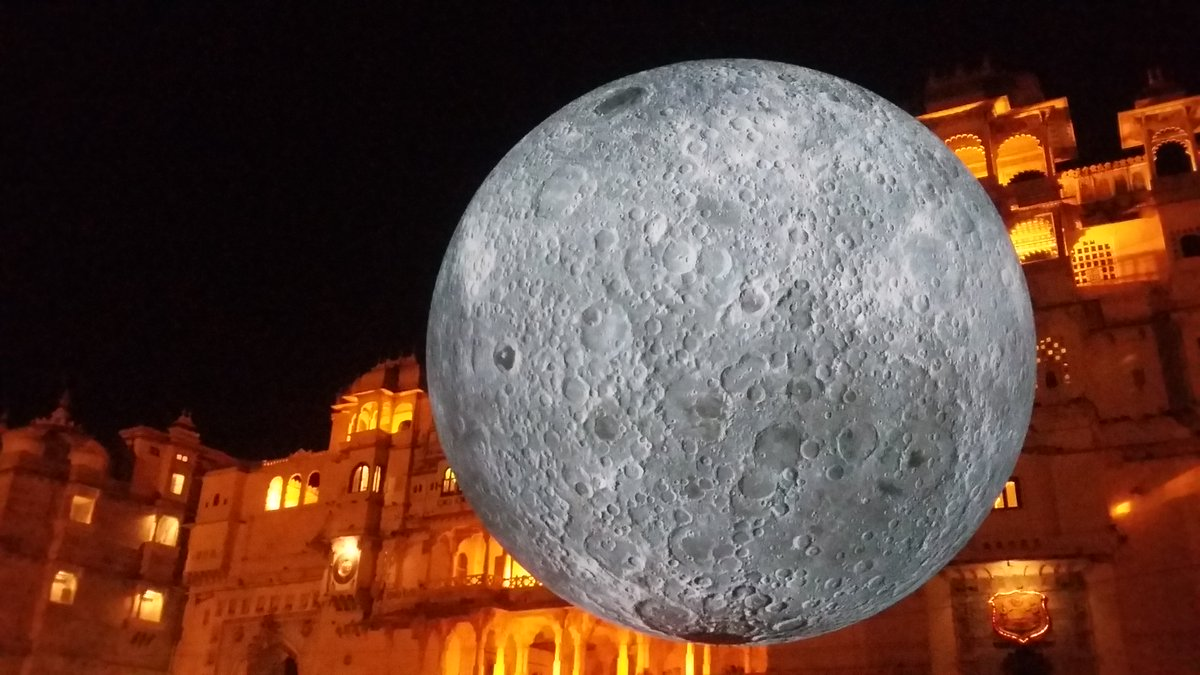 The Museum of the Moon at the Kingdom of the Sun: come catch a glimpse of the moon by artist Luke Jerram installed at The City Palace Museum, Udaipur. #MuseumOfTheMoon #InspiredByIndia #70years #Lukejerram #Installation #BritishCouncil #TheCityPalaceMuseum #Udaipur #Rajasthan