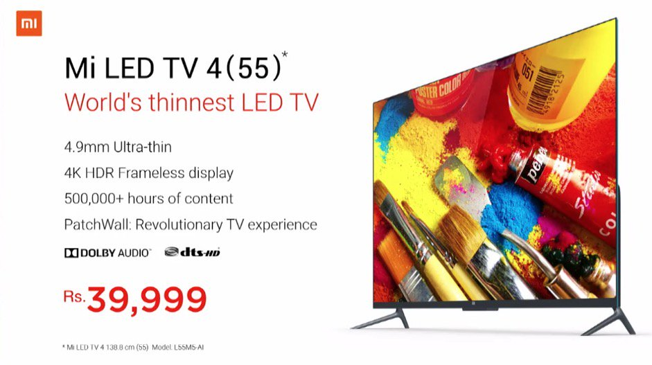 Xiaomi Mi TV 4 55 Inch Features Specification And Price