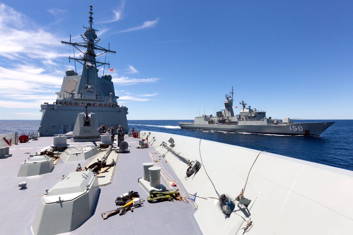 #YourADFs HMAS Hobart has completed its first replenishment at sea linking up with HMAS Anzac off Australia's east coast before a maiden visit to her namesake city
