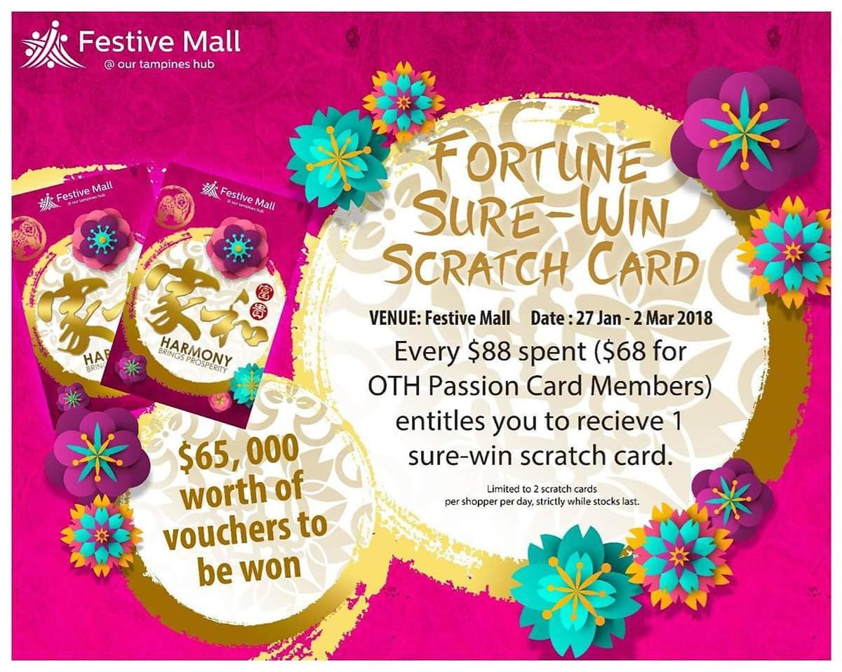 Our Tampines Hub On Twitter Receive One Sure Win Scratch Card With