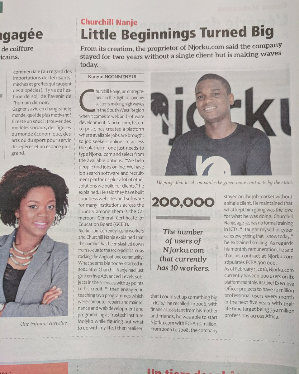 Our founder recognised as one of the young people changing Cameroon https://t.co/iMbI9nVdHI