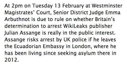 "Tomorrow: Judge set to rule whether continued arbitrary detention of WikiLeaks publisher can be ""in the public interest"" iamwikileaks.org/2018/02/12/tom…"