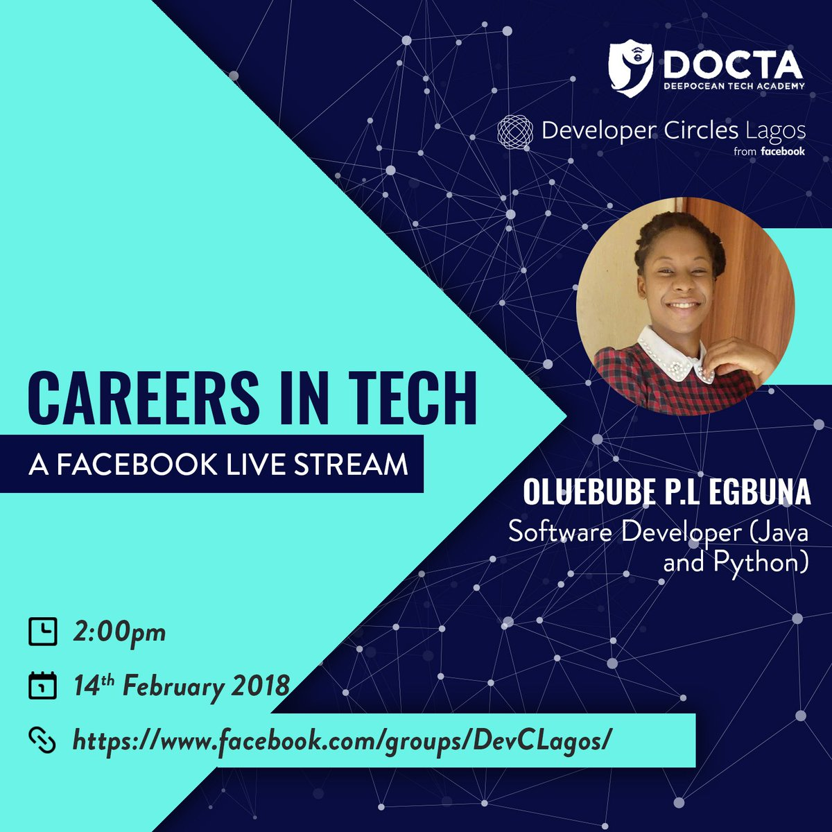 Welcome to another week of #careersintech!  And our guest is  Oluebube P.L Egbuna  Date; 14th, February  Time; 2pm Venue;  http:// facebook.com/groups/DevCLag  &nbsp;  …  This is a Facebook live event.  Kindly RT.<br>http://pic.twitter.com/GAGug1k8ee