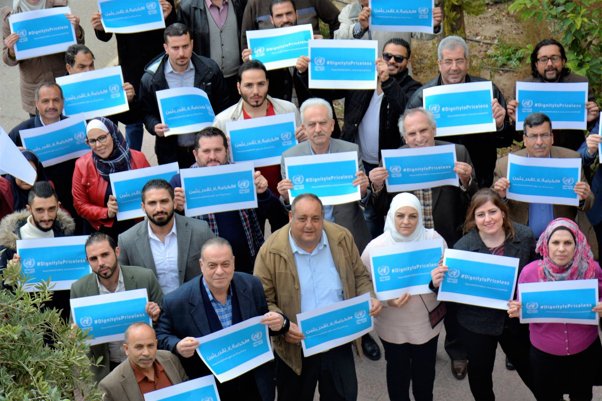 Proud to stand with @UNRWA field office staff in #Syria to support #DignityIsPriceless campaign. #FundUNRWA to allow us keep our schools and clinics open and continue to provide humanitarian assistance #forPalestineRefugees