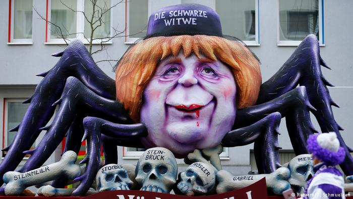 &quot;The Black Widow&quot;  #Rosenmontag parade on Merkel&#39;s reputation for killing her coalition partners. #GroKo <br>http://pic.twitter.com/F9EtJiwjx9