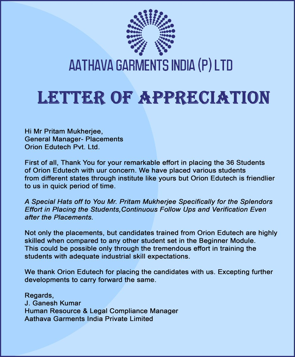 Orion Edutech On Twitter Letter Of Appreciation From Aathava