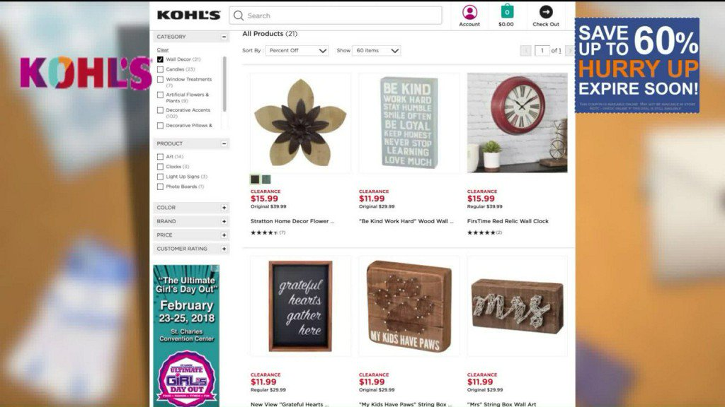 57be5ff34e5 margies money saver up to 60 off clearance wall decor at kohls online