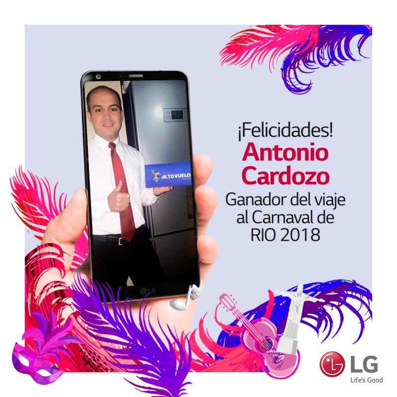 Con sus compras de LG Antonio Cardozo irá al carnaval más grande del mundo. ¡Felicidades y a sambar! 🕺💃🇧🇷  Seguí atento a las novedades que tendremos para seguir disfrutando de los beneficios que LG tiene para vos 🎉 https://t.co/jTiK3qT3oN